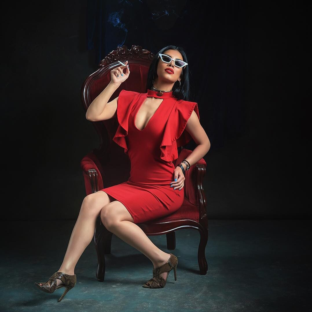 Glamour Portrait of an instagram model in a red dress