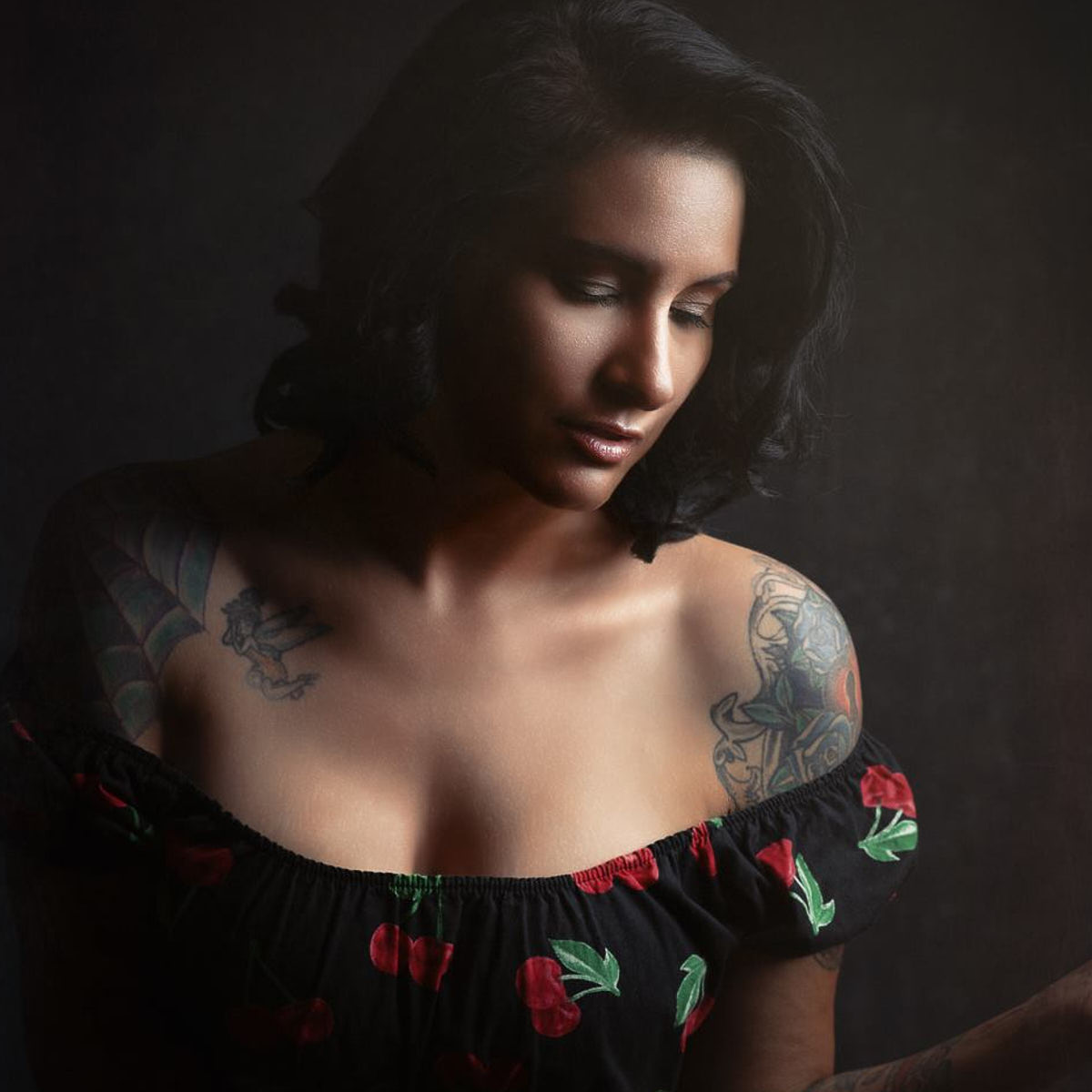 Glamour photo of a tattooed woman